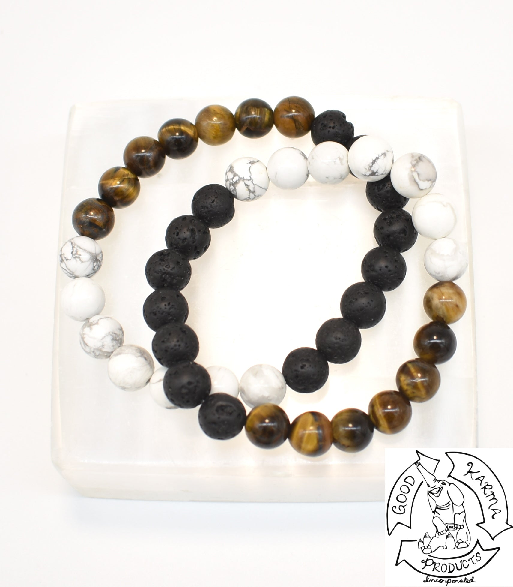 Tiger Eye, Howlite, and Lava Stone Diffuser Bracelet