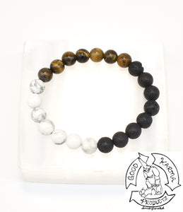 Howlite, Tiger Eye, and Lava Stone Diffuser Bracelet