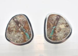 Joe Piaso Jr. Boulder Turquoise Native American Sterling Silver Cuff-Links