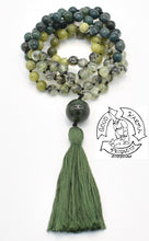 "Load image into Gallery viewer, ""Lucky Dreams""- Jade, Prehnite, and Moss Agate 108 Stone Mala"