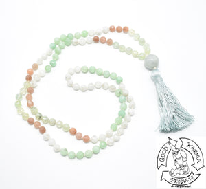 Burma Jade, Prehnite, Sunstone, and Moonstone Mala Handmade in the USA with 108 Stone Beads