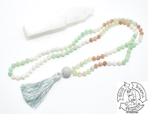 Burma Jade, Prehnite, Sunstone, and Moonstone Handmade Mala with 108 Stone Beads