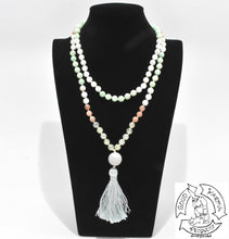 Load image into Gallery viewer, 108 Stone Bead Mala Handmade with Burma Jade, Prehnite, Sunstone, and Moonstone