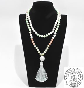 108 Stone Bead Mala Handmade with Burma Jade, Prehnite, Sunstone, and Moonstone