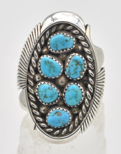 Load image into Gallery viewer, Native American Turquoise  Cluster Sterling Silver Keith James Navajo Ring - Size 10.5