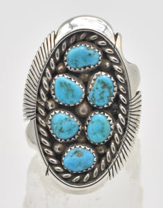 Native American Turquoise  Cluster Sterling Silver Keith James Navajo Ring - Size 10.5