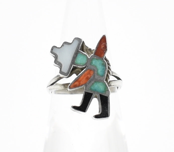 Kachina Doll Vintage Sterling Silver Southwest Inlay Ring - Size 5.5