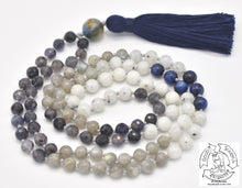 "Load image into Gallery viewer, ""Guiding Kyanite"" - Kyanite, Iolite, Labradorite and Moonstone Handmade 108 Stone Mala"
