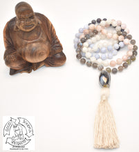 Load image into Gallery viewer, Serene Light- Labradorite, Moonstone, Kunzite, Agate, and Iolite Handmade 108 Stone Mala