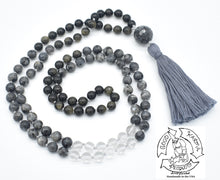 "Load image into Gallery viewer, ""Protective Mirror"" - Larvikite, Golden Obsidian, and Quartz Handmade 108 Stone Mala"