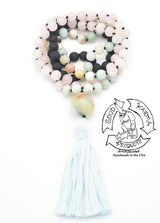 """Diffusing Calm Love"" - Amazonite, Rose Quartz and Lava Stone Handmade 108 Stone Mala"