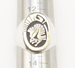 Leah Cleveland 14k Gold and Sterling Silver Native American Eagle Ring - Size 13