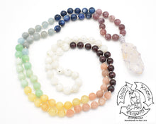 "Load image into Gallery viewer, ""Macraméd Quartz Chakra Rainbow"" - Handmade 108 Stone Mala"