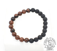 "Load image into Gallery viewer, ""Advancing Diffuser"" - Mahogany Obsidian and Lava Stone Diffuser Bracelet"