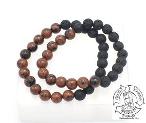 """Advancing Diffuser"" - Mahogany Obsidian and Lava Stone Diffuser Bracelet"