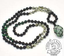 "Load image into Gallery viewer, ""Macraméd Protective Guide"" - Black Tourmaline, Onyx, Prehnite, Green Tigers Eye, and Macraméd Rutilated Green Quartz 108 Stone Mala"