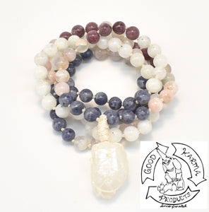 """Macraméd Hopeful Mirror "" - Iolite, Flower Agate, Lepidolite, Moonstone, and Macraméd  Quartz 108 Stone Mala"
