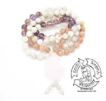 "Load image into Gallery viewer, ""Mommy Mala"" - Rose Quartz, Peach Moonstone, Moonstone, and Amethyst Handmade 108 Stone Mala"