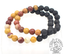 "Load image into Gallery viewer, ""Strengthening Diffuser"" - Mookaite and Lava Stone Bracelet"