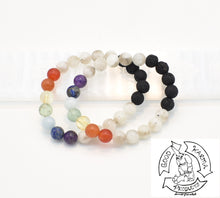 Load image into Gallery viewer, Moonstone, Chakras, and Lava Stone Diffuser Bracelet