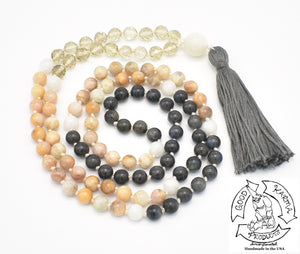 """Shining Skies"" - Moonstone, Smokey Quartz, Peach Moonstone, and Labradorite"