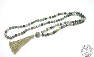 Mala made with Moss Agate