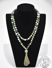 Load image into Gallery viewer, Mala made with 108 Moss Agate Stone Beads