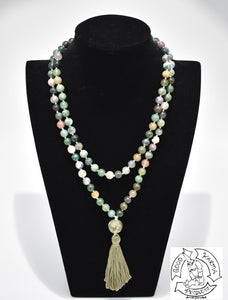 Mala made with 108 Moss Agate Stone Beads