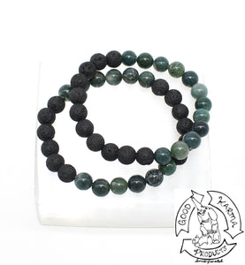 Moss Agate and Lava Stone Bracelet Diffuser