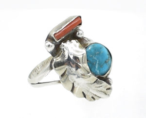Older Vintage Sterling Silver, Turquoise, and Red Coral Southwest Ring - Size 6.5