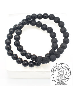 """Shielding Diffuser"" - Onyx and Lava Stone Bracelet"