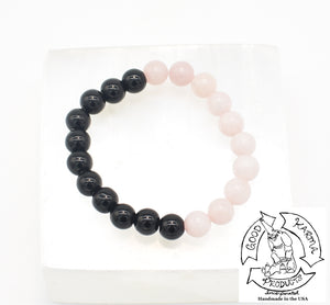 """Shielding Love"" - Onyx and Rose Quartz Stone Bracelet"