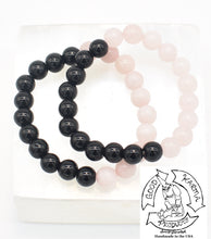 "Load image into Gallery viewer, ""Shielding Love"" - Onyx and Rose Quartz Stone Bracelet"