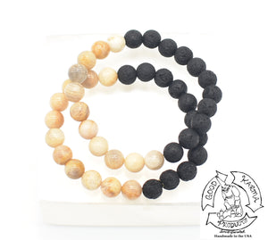 """Easing Diffuser"" - Peach Moonstone and Lava Stone Bracelet"