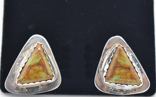 Native American Turquoise and Sterling Silver Triangular Stud Earrings