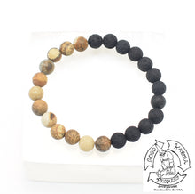 "Load image into Gallery viewer, ""Harmonizing Diffuser"" - Picture Jasper and Lava Stone Bracelet"