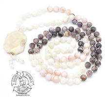 "Load image into Gallery viewer, ""Spiritual Accomplishment "" - Pink Opal, Moonstone, and Charoite Handmade 108 Stone Mala"