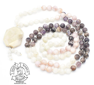 """Spiritual Accomplishment "" - Pink Opal, Moonstone, and Charoite Handmade 108 Stone Mala"