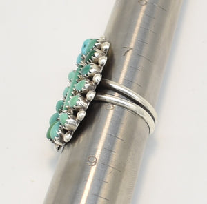 Vintage Petit Point Turquoise Sterling Silver Ring - Size 8