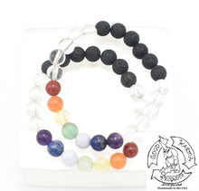Load image into Gallery viewer, Quartz, Chakra, and Lava Stone Diffuser Bracelet