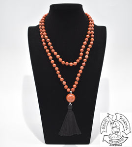 Mala Handmade in the USA with 108 Red Jasper Stone Beads