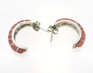 Nastacu stamped Red Coral Inlay and Sterling Silver Vintage Southwestern Earrings