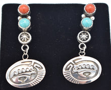 Load image into Gallery viewer, Running Bear Shop Southwest Sterling Silver Bear Overlay Turquoise and Red Coral Earrings