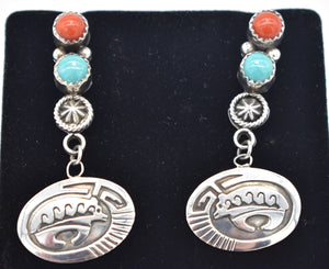 Running Bear Shop Southwest Sterling Silver Bear Overlay Turquoise and Red Coral Earrings