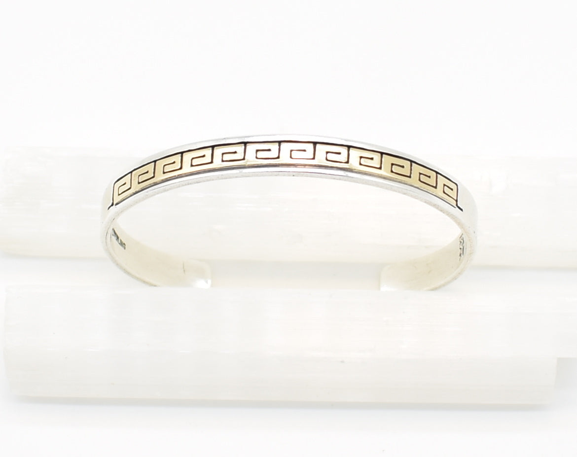 Rhoda Jack Sterling Silver and 14K Gold Navajo Native American Cuff Bracelet