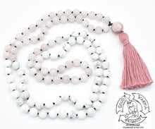 "Load image into Gallery viewer, ""Calming Love"" - Rhodonite, Howlite, and Rose Quartz Handmade 108 Stone Mala"