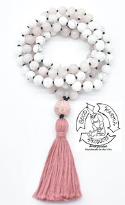 """Calming Love"" - Rhodonite, Howlite, and Rose Quartz Handmade 108 Stone Mala"