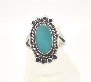 Vintage Turquoise and Sterling Silver Southwest Ring - Size 6.5