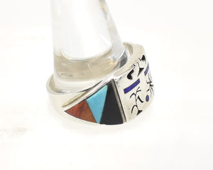 Fernando Benally Mutli-Stone Inlay Enormous Sterling Silver Native American Navajo Ring - Size 16.125