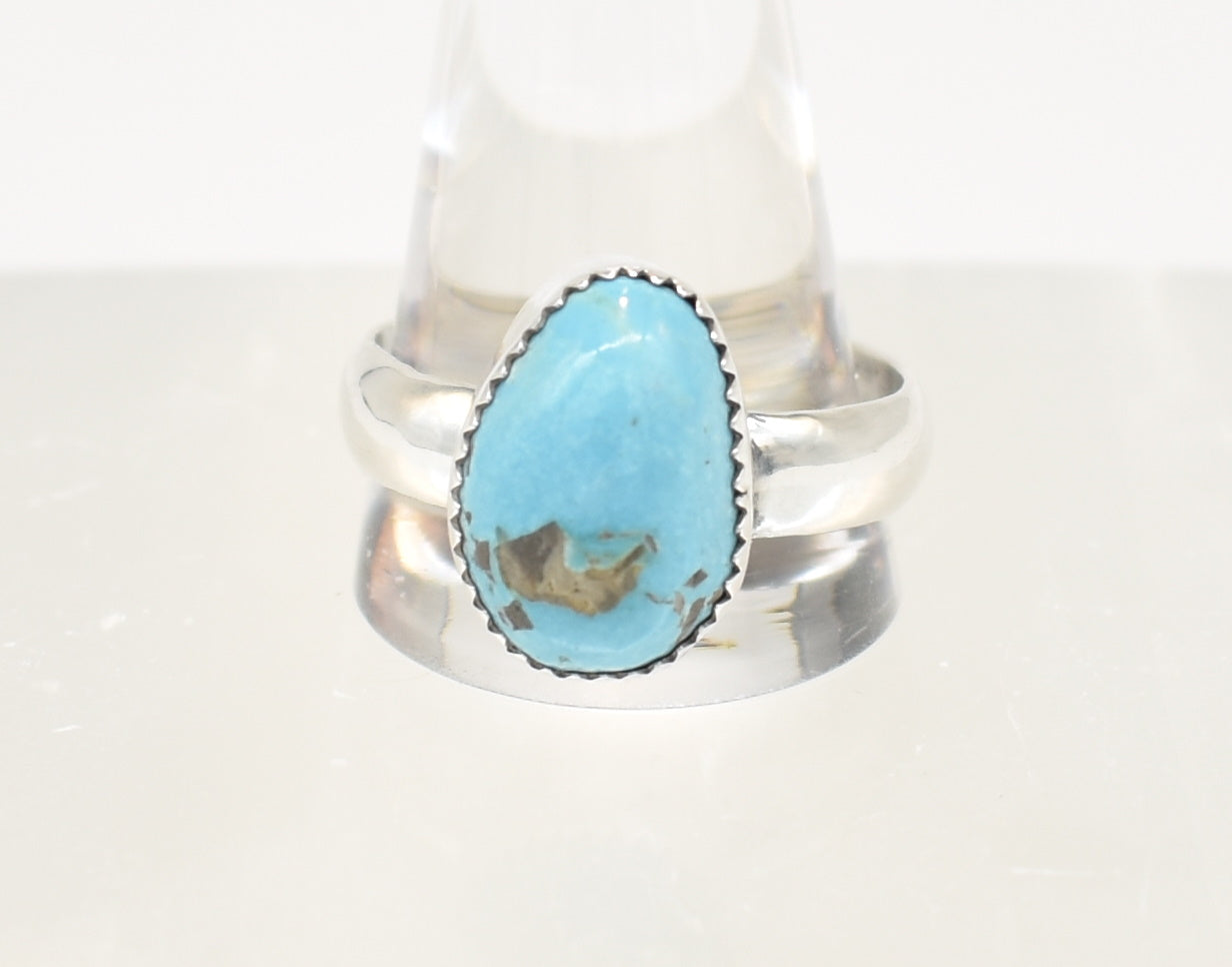 Southwest Style Large Sterling Silver Turquoise Ring - Size 15